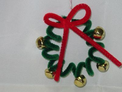 Fuzzy Stick Christmas Wreath Ornament