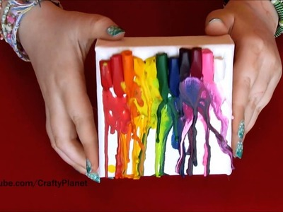 Melted Crayons on a Mini Canvas - A Fun And Easy Craft Melted Crayon Art