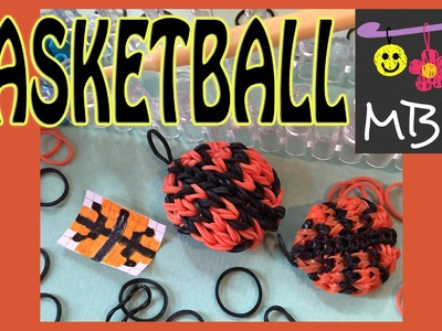 Rainbow Loom Basketball Charm made in the style of the Alpha Loom