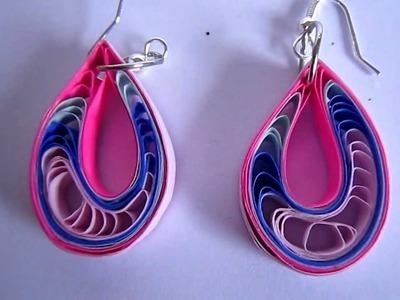 Handmade Jewelry - Paper Quilling Teardrops Earings(Pink,Blue,Sky Blue Dark Pink)