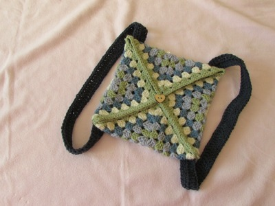 How to crochet an EASY granny square backpack. rucksack
