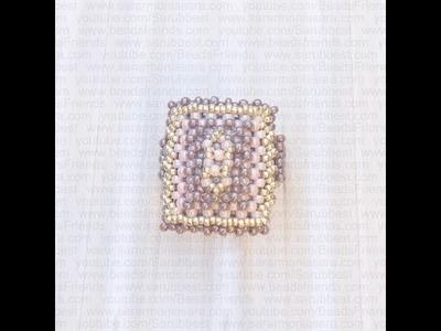 Sarubbest - Anello con perline lavorate secondo la tecnica Right Angle Weave (RAW)