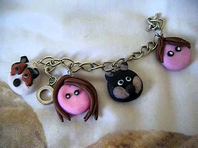 CTFxC. Internet Killed Television Polymer Clay Charm Braclet! :D (Get well Soon Charles!)