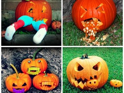 4 different pumpkin carving ideas. designs