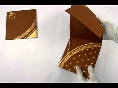 D-4697, Brown Color, Handmade Paper, Hindu Cards, Marriage  Cards, Indian Wedding Invitations