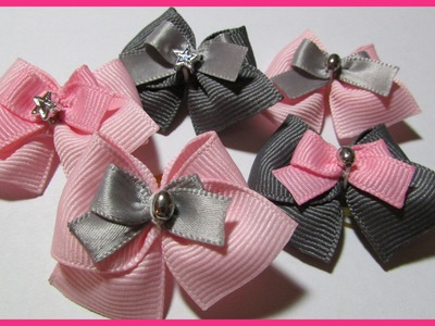 DIY - How to make a Dog Hair Bows No.4 - Free Tutorial with subtitles