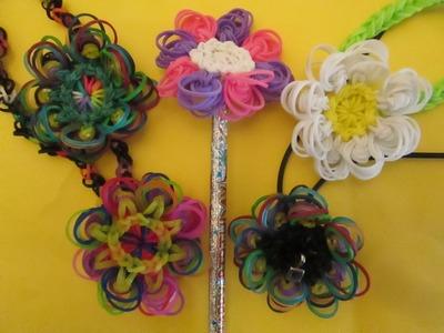 Rainbow Loom Peacock Flower Pendant Charm.