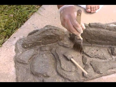 Step 2 DIY rock background - cement