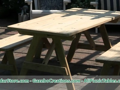 Treated Pine Traditional Picnic Table with Backless Benches from CedarStore.com