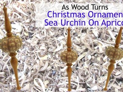 Woodturning Christmas Ornament - Sea Urchin On Apricot