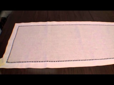 100% Linen Table Runner and Placemats Hand Hemstitched