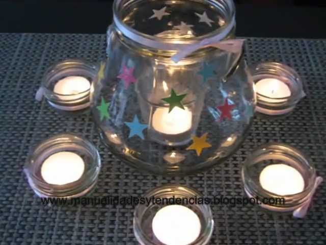 Portavelas con frascos reciclados. Candleholder made of recycled jars
