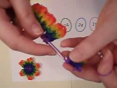 Shelly's Rainbow Rubberband Flower no loom needed