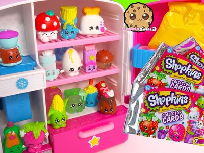 Shopkins Collector Cards 3 Packs & Unboxing 12 Pack with 2 Blind Bags in So Cool Fridge Toy Video