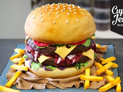 The Making of a Burger Cake! | Cupcake Jemma