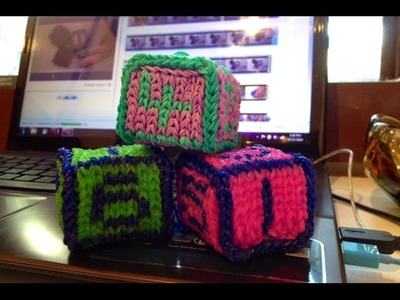 3D Numbered Dice Squishy Cube Toy Block Rainbow Loom Tutorial