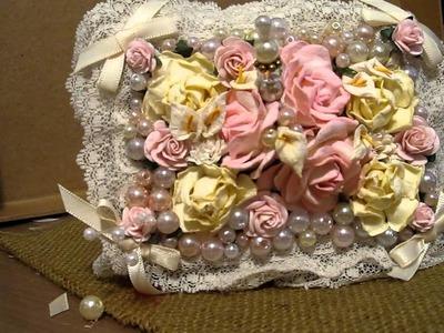 Altered Paper Mache Pearl & Floral Box