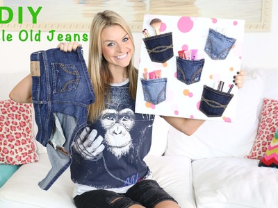 DIY: Recycle Old Jeans To Make A Denim Pocket Wall Organizer