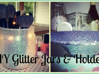 Glitter Makeup Brush Holder & Jars DIY +It Lights Up!