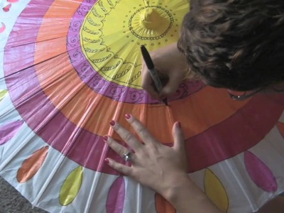 Time Lapse Painting - Paper Parasol Wedding Decorations