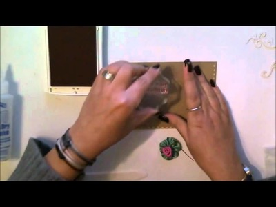 Day 25: How to make a birthday card featuring a stick pin, ribbon rosette, and ribbon rose