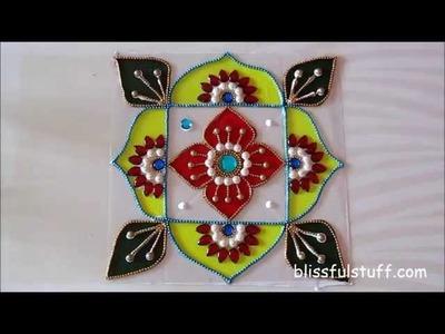 DIY - Kundan rangoli painted with acrylic colors, Creative kundan rangoli design