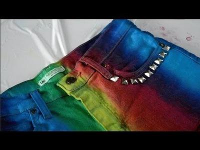 DIY Rainbow Cut-off Studded Shorts!