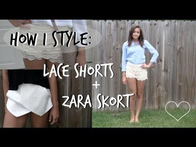 How I Style | Zara Skort and Lace Shorts ♡