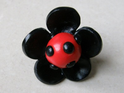 Polymer clay ladybug ring