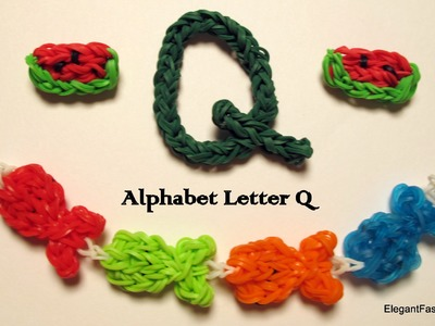 Alphabet Letter Q Charm on Rainbow Loom