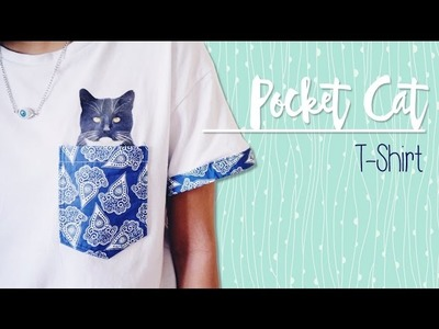 DIY ✂ Pocket Cat T-shirt