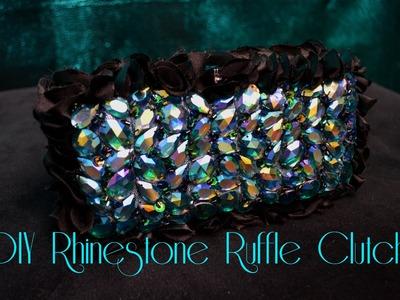DIY Rhinestone Ruffle Clutch