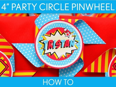 How to Make: 4 inch Party Circle Pinwheel (Birthday Party). Vintage Superhero - B32