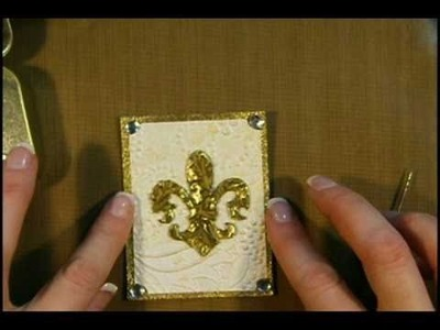 How to make a Fleur De Lis Themed ATC using Chipboard and Embossing Powder