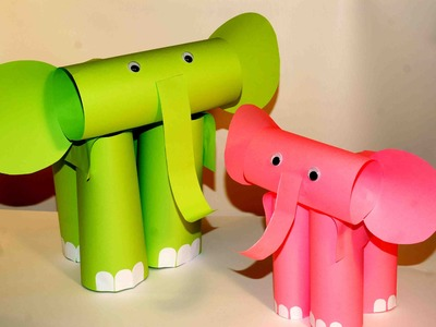 Paper craft for kids. Paper elephants. Easy paper crafts.
