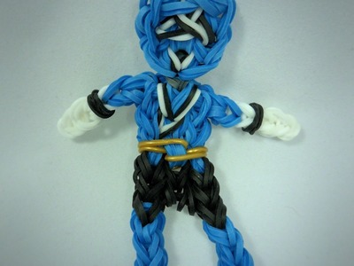 Rainbow Loom Blue Power Ranger Action Figure.Charm Tutorial
