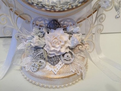 Romantic steampunk altered frame with WOC beautiful flowers