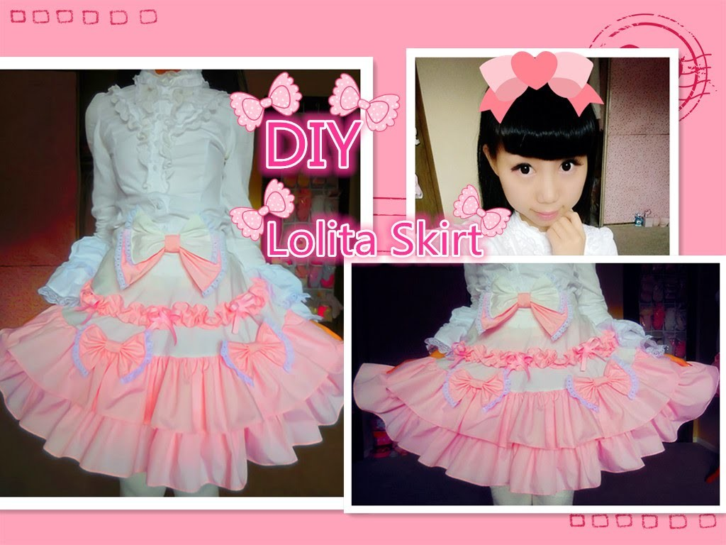 Kawaii DIY - How to Make A Sweet Lolita Skirt (no elastic band and zipper method)