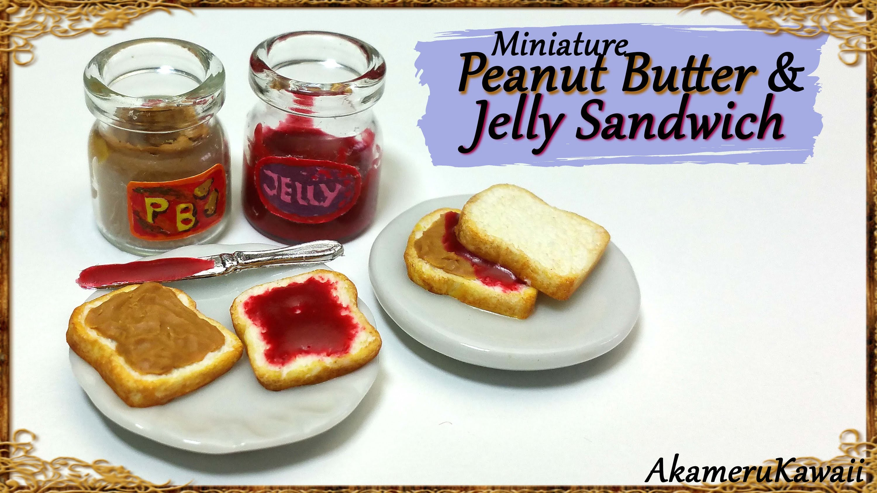 Cute, Miniature Peanut Butter & Jelly Sandwiches - Polymer Clay Tutorial