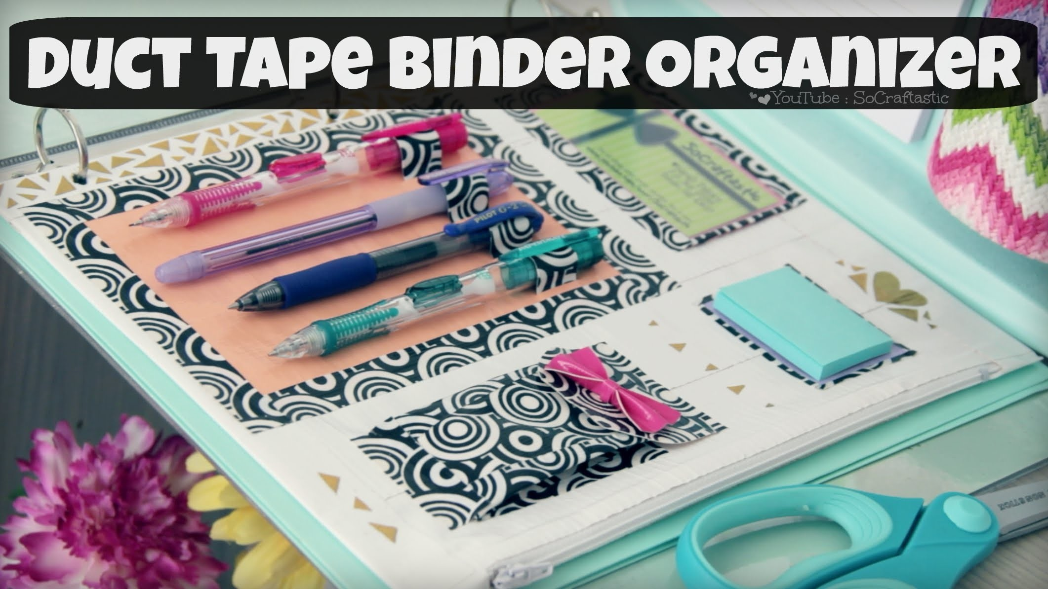 DIY Binder Organizer. Duct Tape Zipper Pouch & Pen Holder. Back-To-School