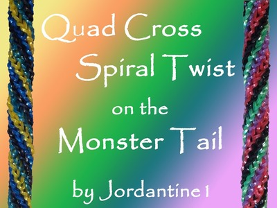 New Quad Cross Spiral Twist on the Monster Tail - Rainbow Loom