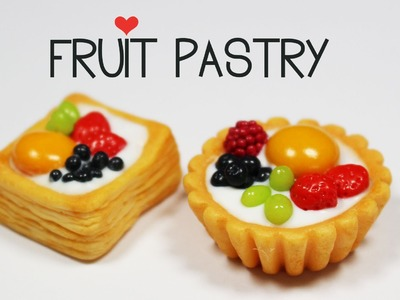 Polymer clay Fruit Pastry TUTORIAL ( puff pastry tart )