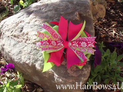 Lime Green and Hot Pink Flowers Pinwheel Hair Bow - video demo
