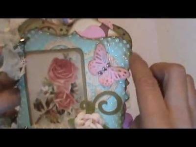 Sweet little mini chipboard scrapbook album shabby cottage chic