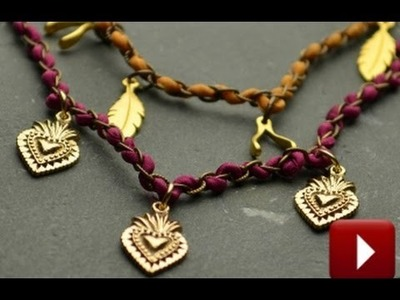 Jewelry How To - Make a Woven Silk and Chain Charm Necklace