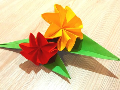 Easy origami flower.  Great ideas for Easter decor - paper bouquet
