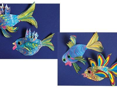 Cut-Paper 3-D Marbled Fish - Project #81