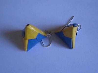 Handmade Jewelry - Origami Paper Triangle Earrings (Not Tutorial)