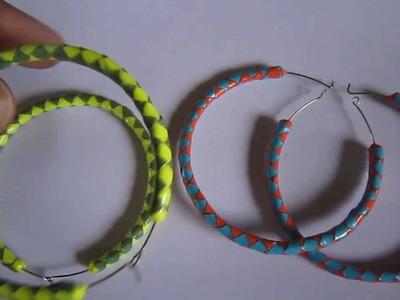 Handmade Jewelry - Paper Hoop Earrings (Not Tutorial)