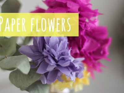 Make Paper Flowers, tissue paper pom pom flower tutorial